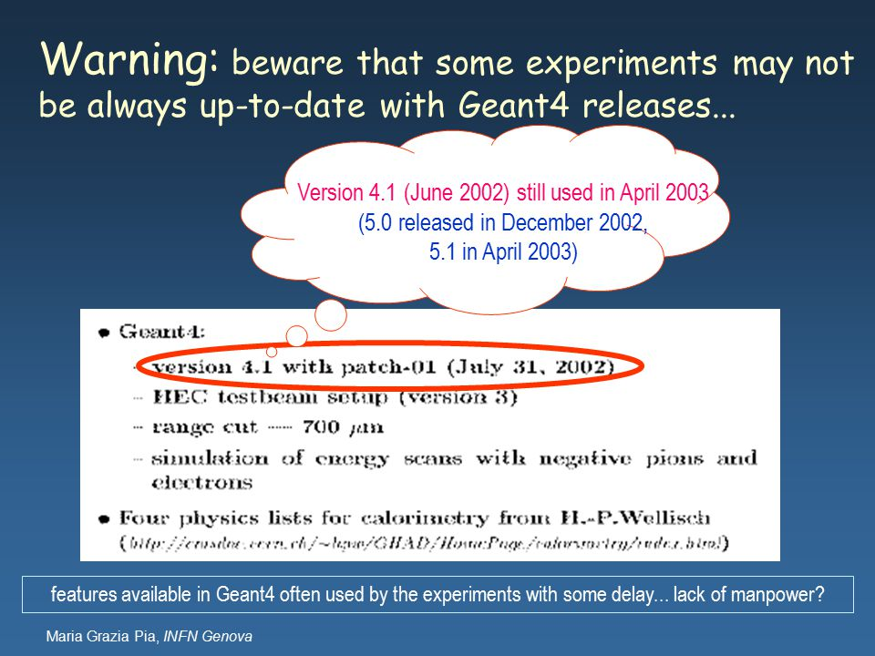 Maria Grazia Pia, INFN Genova Warning: beware that some experiments may not be always up-to-date with Geant4 releases...