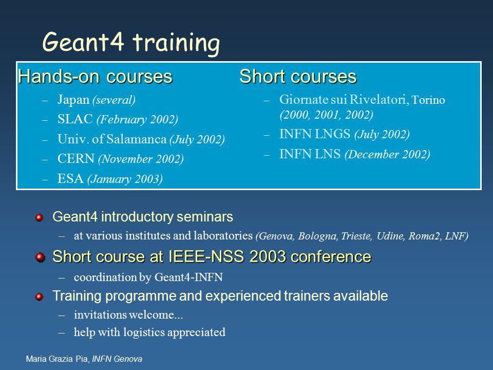 Maria Grazia Pia, INFN Genova Geant4 training Hands-on courses – Japan (several) – SLAC (February 2002) – Univ.