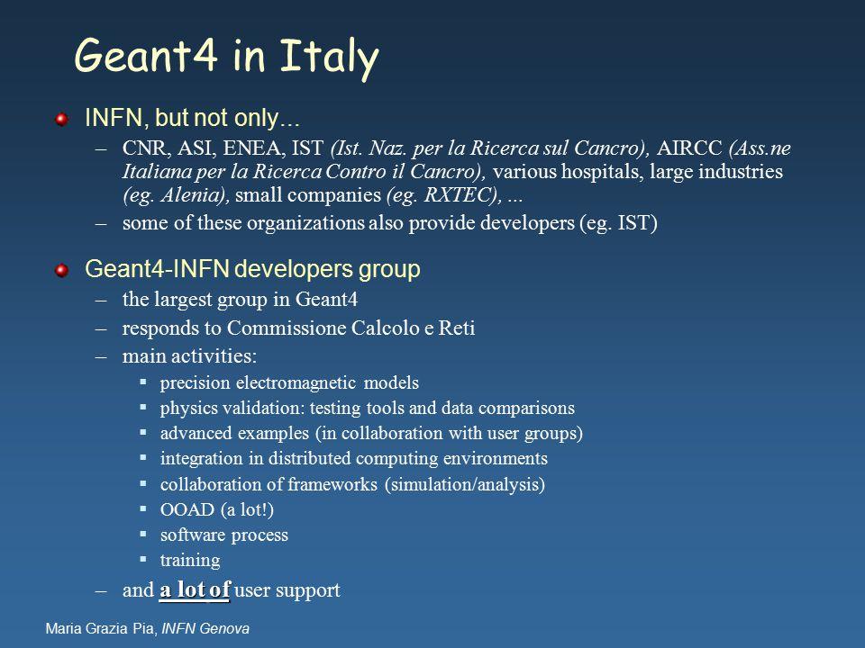 Maria Grazia Pia, INFN Genova Geant4 in Italy INFN, but not only... –CNR, ASI, ENEA, IST (Ist. Naz. per la Ricerca sul Cancro), AIRCC (Ass.ne Italiana
