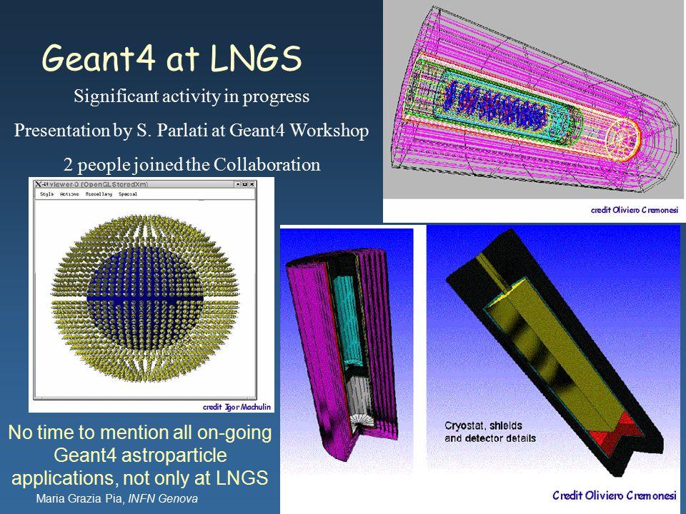 Maria Grazia Pia, INFN Genova Geant4 at LNGS Significant activity in progress Presentation by S.