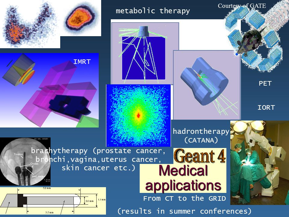 Maria Grazia Pia, INFN Genova Medical applications Courtesy of GATE metabolic therapy brachytherapy (prostate cancer, bronchi,vagina,uterus cancer, skin cancer etc.) PET IORT IMRT From CT to the GRID (results in summer conferences) hadrontherapy (CATANA)