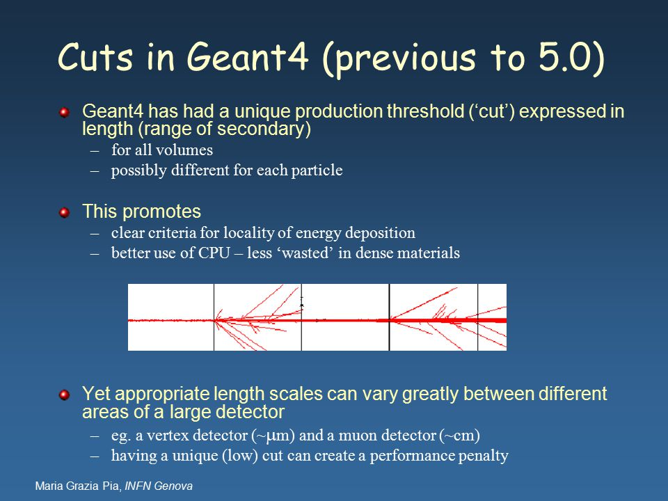 Maria Grazia Pia, INFN Genova Geant4 has had a unique production threshold ('cut') expressed in length (range of secondary) –for all volumes –possibly