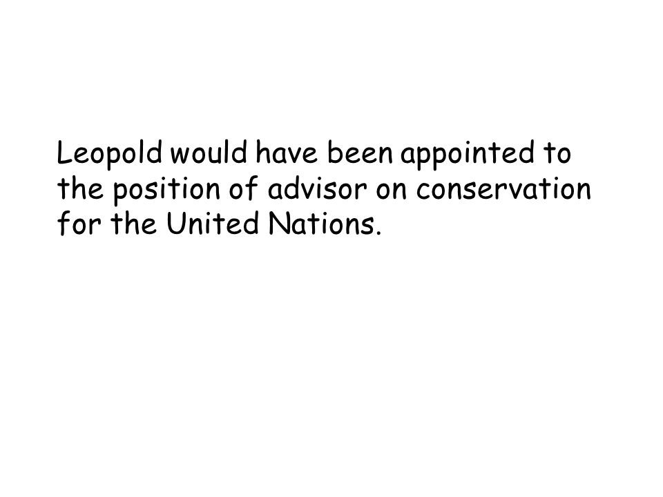 Leopold would have been appointed to the position of advisor on conservation for the United Nations.