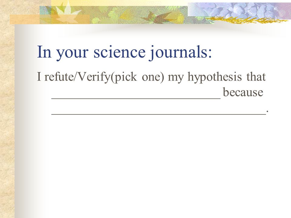 In your science journals: I refute/Verify(pick one) my hypothesis that __________________________ because _________________________________.