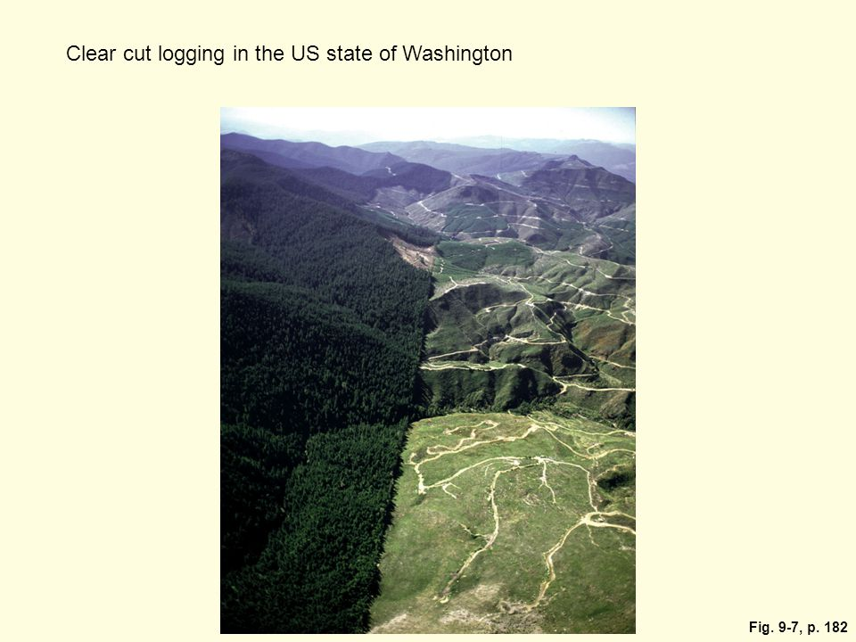 Fig. 9-7, p. 182 Clear cut logging in the US state of Washington