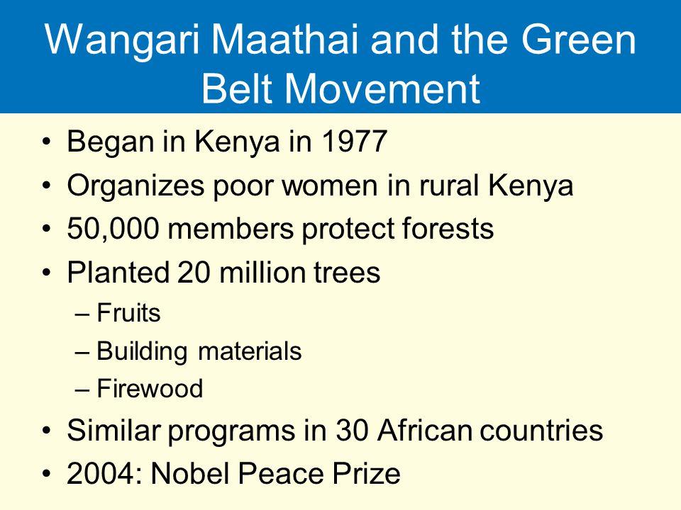 Wangari Maathai and the Green Belt Movement Began in Kenya in 1977 Organizes poor women in rural Kenya 50,000 members protect forests Planted 20 milli