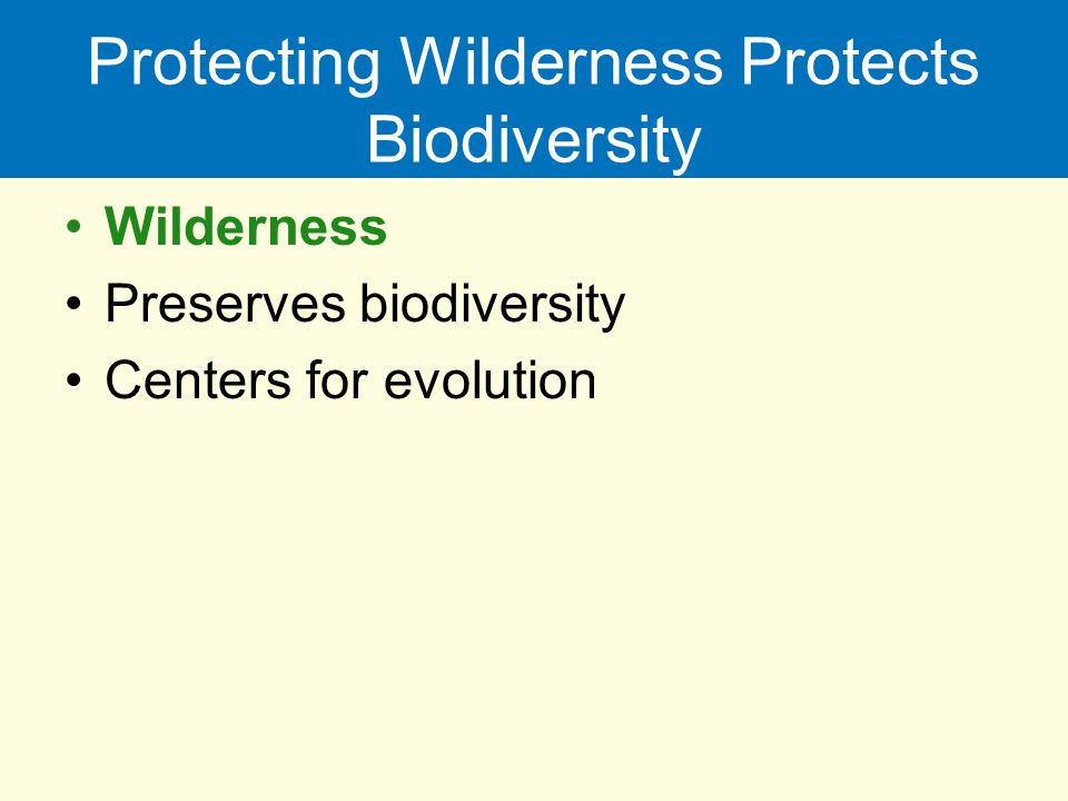 Protecting Wilderness Protects Biodiversity Wilderness Preserves biodiversity Centers for evolution