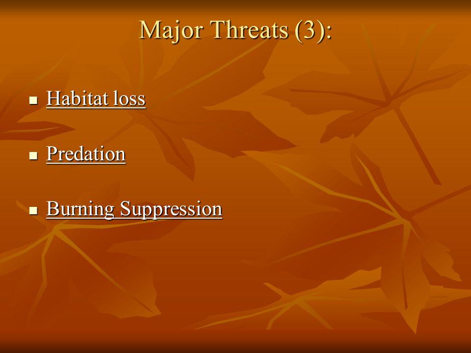 Major Threats (3): Habitat loss Habitat loss Predation Predation Burning Suppression Burning Suppression