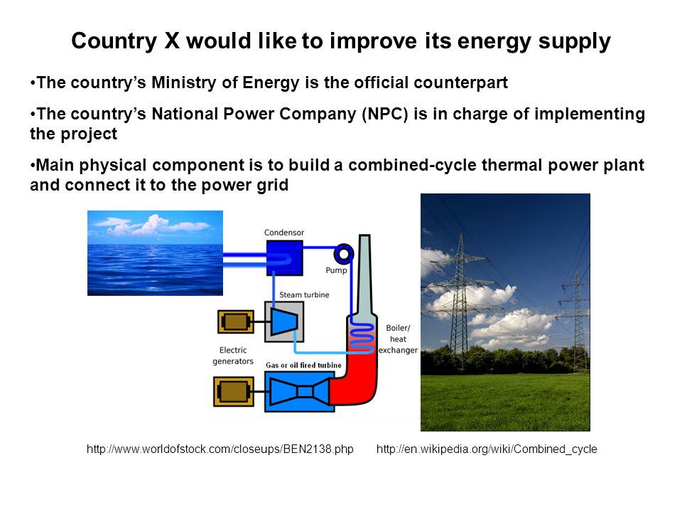 http://www.worldofstock.com/closeups/BEN2138.php Country X would like to improve its energy supply The country's Ministry of Energy is the official counterpart The country's National Power Company (NPC) is in charge of implementing the project Main physical component is to build a combined-cycle thermal power plant and connect it to the power grid http://en.wikipedia.org/wiki/Combined_cycle