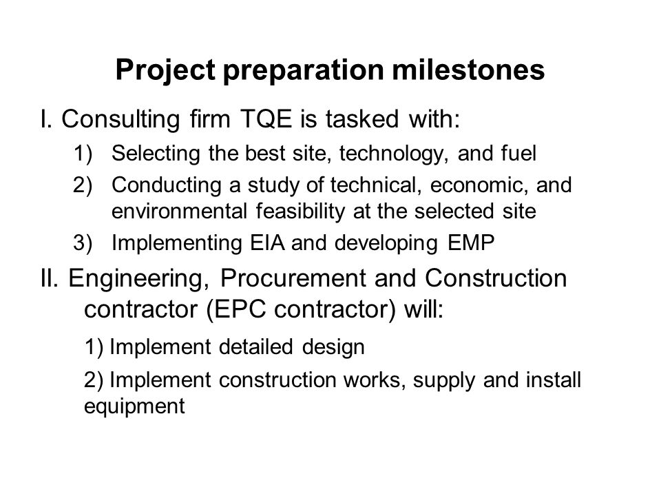 Project preparation milestones I.
