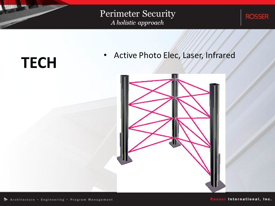 Active Photo Elec, Laser, Infrared TECH Perimeter Security A holistic approach