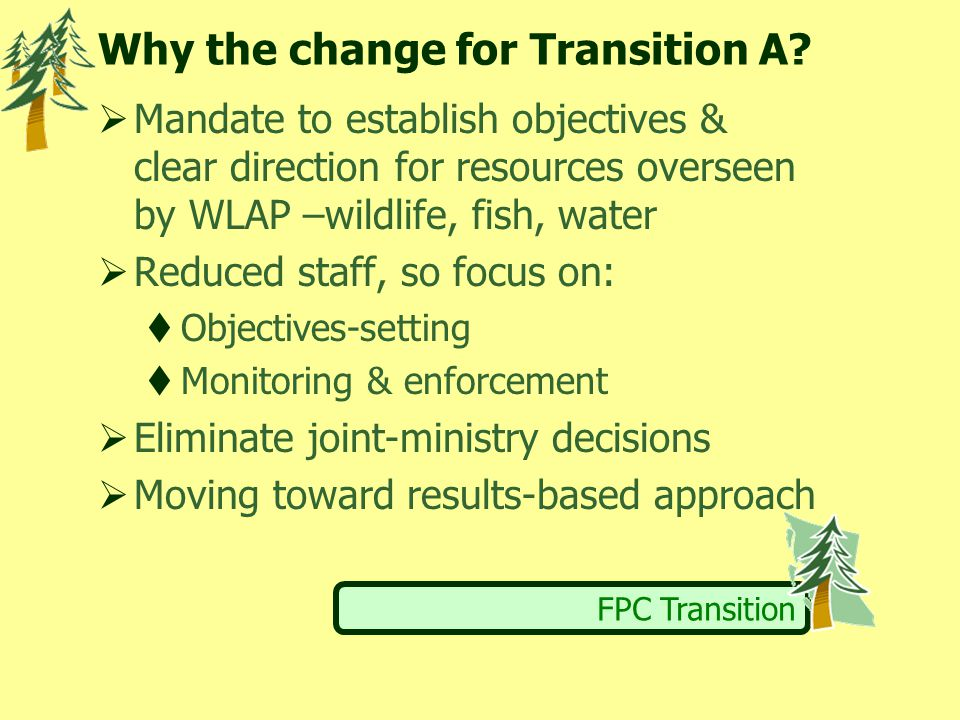 FPC Transition Why the change for Transition A.