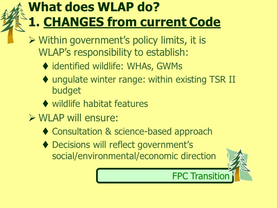 FPC Transition What does WLAP do? 1. CHANGES from current Code  Within government's policy limits, it is WLAP's responsibility to establish:  identi