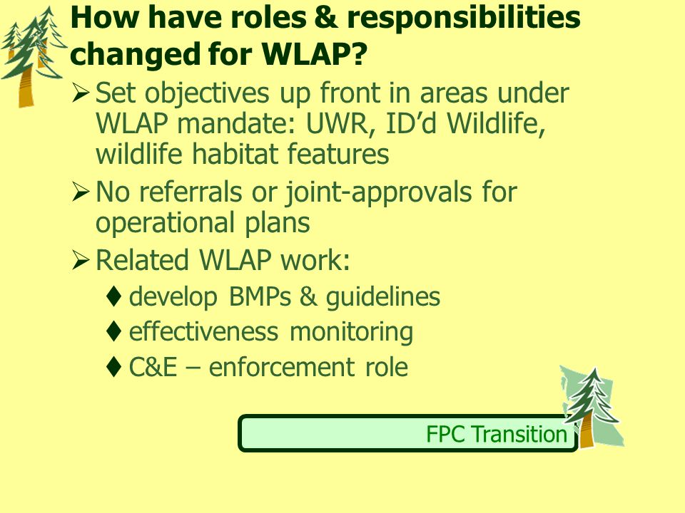 FPC Transition How have roles & responsibilities changed for WLAP.