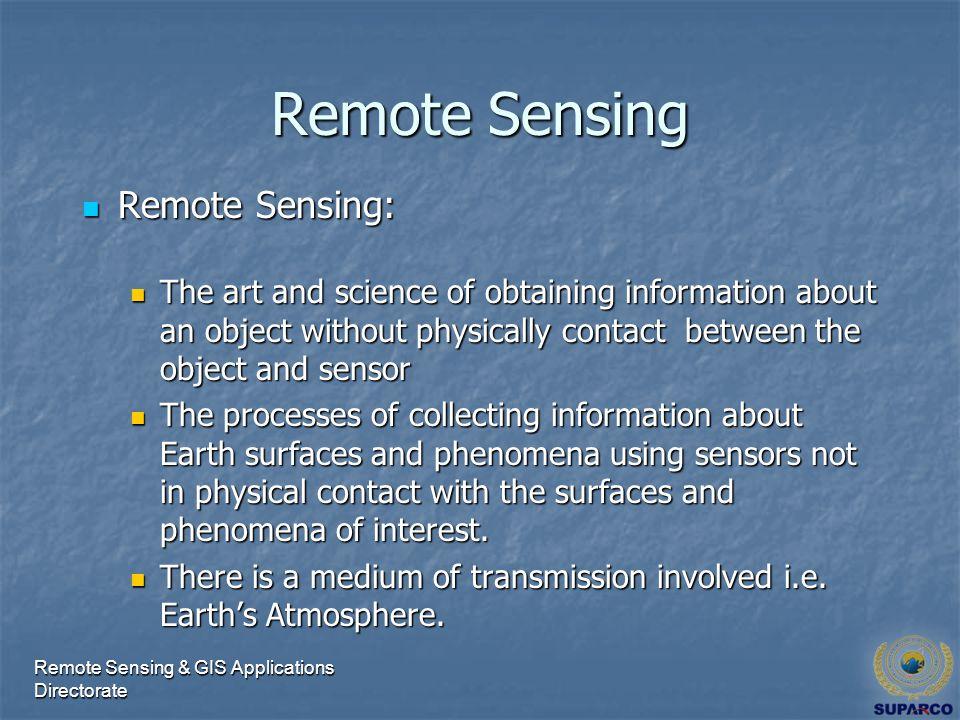 Representative Applications of Remote Sensing Conducted by SUPARCO Remote Sensing & GIS Applications Directorate
