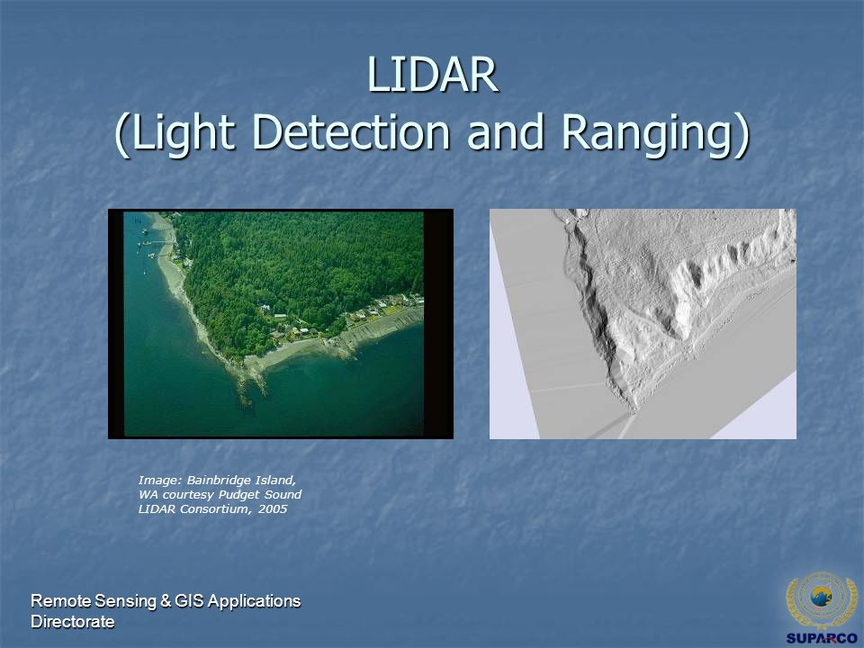 Remote Sensing & GIS Applications Directorate LIDAR (Light Detection and Ranging) Image: Bainbridge Island, WA courtesy Pudget Sound LIDAR Consortium, 2005