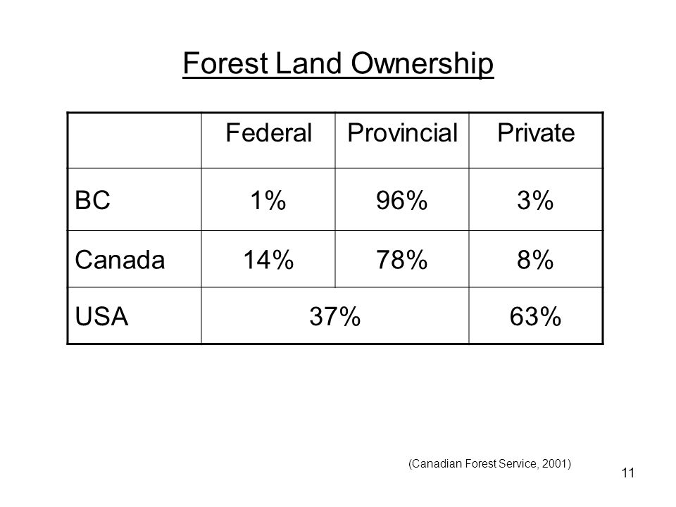 11 Forest Land Ownership FederalProvincialPrivate BC1%96%3% Canada14%78%8% USA37%63% (Canadian Forest Service, 2001)