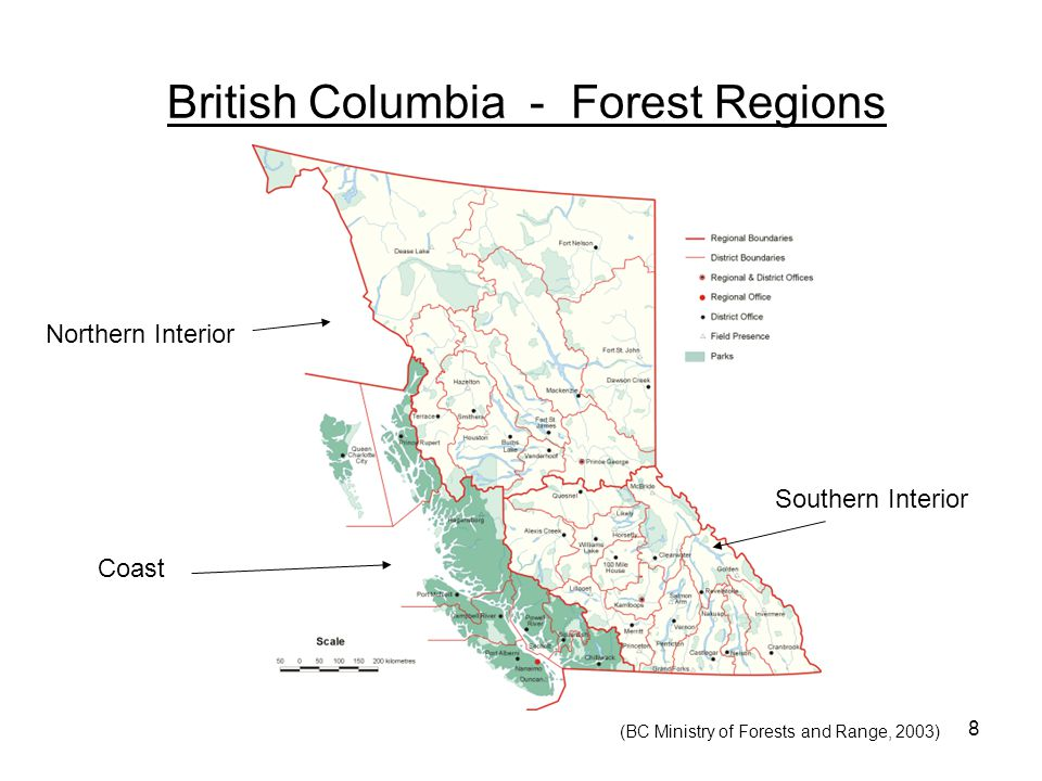 8 British Columbia - Forest Regions Coast Northern Interior Southern Interior (BC Ministry of Forests and Range, 2003)