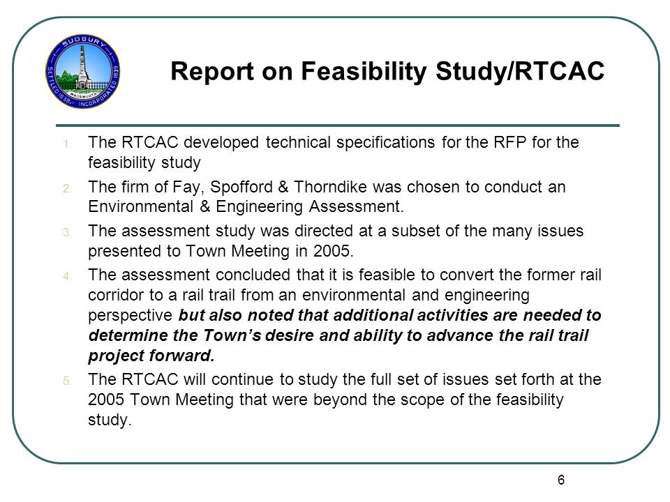 6 Report on Feasibility Study/RTCAC 1.