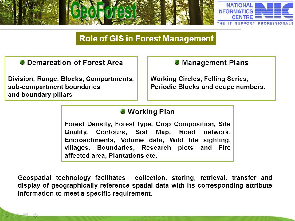 Role of GIS in Forest Management Working Plan Forest Density, Forest type, Crop Composition, Site Quality, Contours, Soil Map, Road network, Encroachm