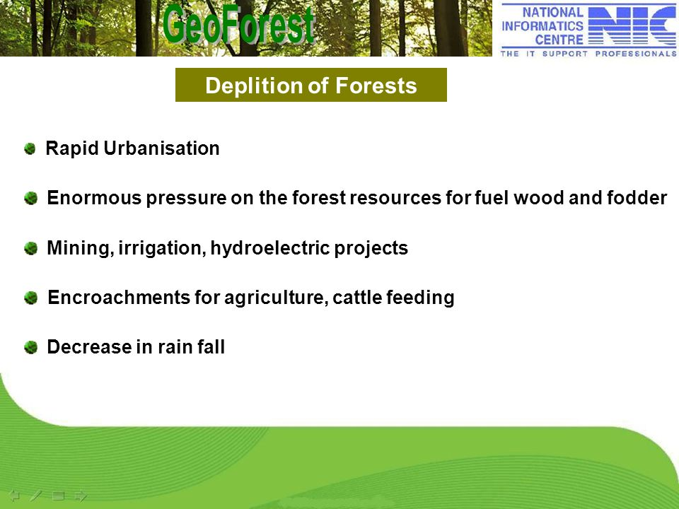 Rapid Urbanisation Enormous pressure on the forest resources for fuel wood and fodder Mining, irrigation, hydroelectric projects Encroachments for agr