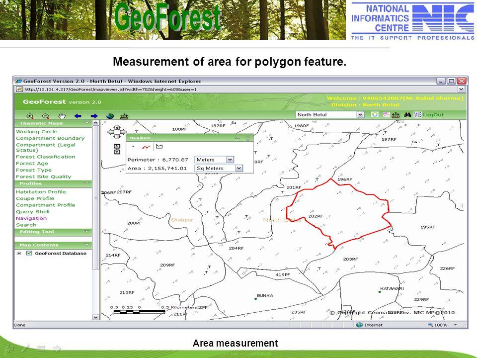 Area measurement Measurement of area for polygon feature.