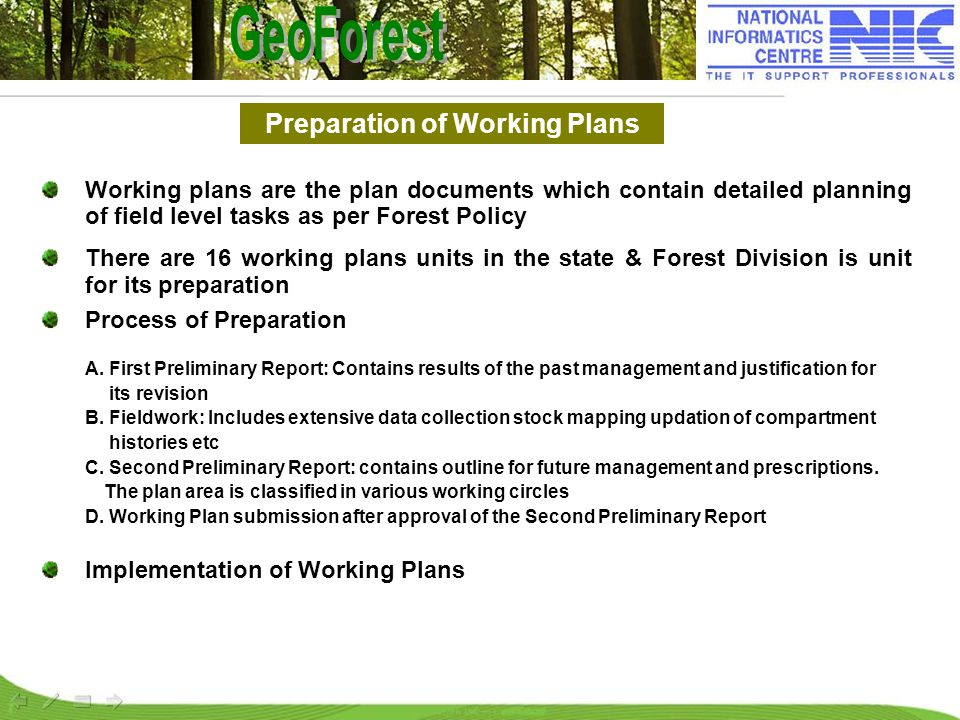 Working plans are the plan documents which contain detailed planning of field level tasks as per Forest Policy There are 16 working plans units in the