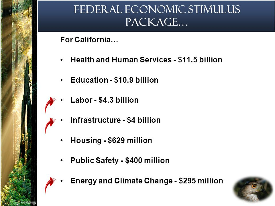 5 California Economic Stimulus Proposition 1(b) and 1(e) - 2006 Major bond infrastructure initiatives Proposition 1(b) authorizes the sale of $19.9 billion in bonds for transportation infrastructure projects Proposition 1(e) authorizes the sale of $4.09 billion in bonds for flood control and water conveyance infrastructure projects Legislative and administrative intent in 2009 to maximize appropriations as an economic stimulus measure (SB/AB 3X 8)