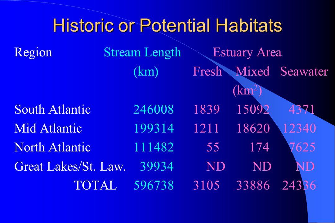 Historic or Potential Habitats RegionStream Length Estuary Area (km)Fresh Mixed Seawater (km 2 ) South Atlantic2460081839 15092 4371 Mid Atlantic1993141211 1862012340 North Atlantic111482 55 174 7625 Great Lakes/St.