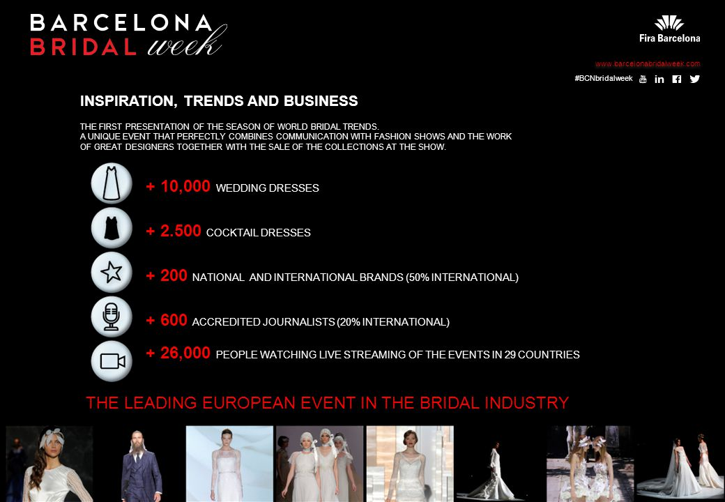 INSPIRATION, TRENDS AND BUSINESS THE FIRST PRESENTATION OF THE SEASON OF WORLD BRIDAL TRENDS.