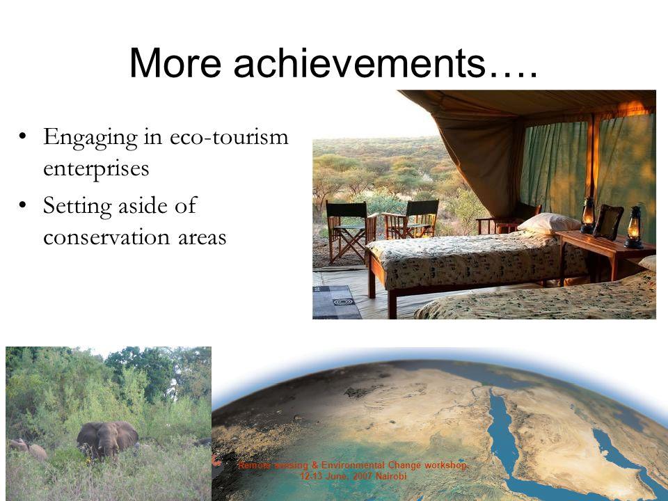Remote sensing & Environmental Change workshop. 12-13 June, 2007 Nairobi More achievements….
