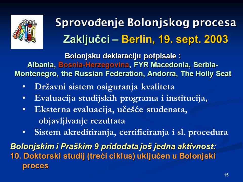 15 Sprovo đ enje Bolonjskog procesa Zaključci – Berlin, 19. sept. 2003 Državni sistem osiguranja kvaliteta Evaluacija studijskih programa i institucij
