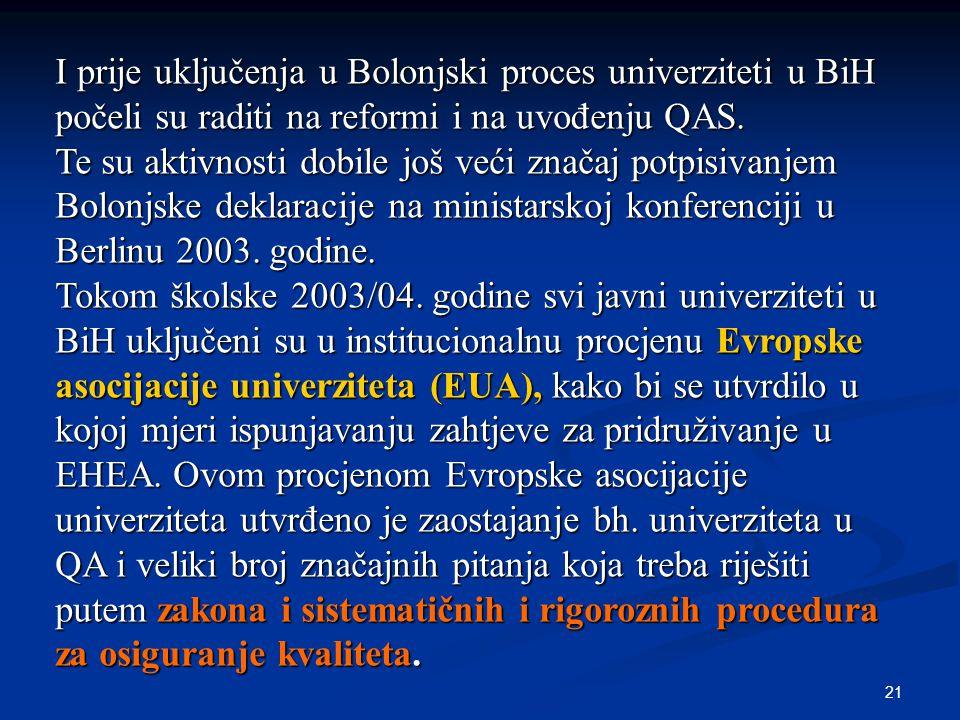 21 I prije uključenja u Bolonjski proces univerziteti u BiH počeli su raditi na reformi i na uvođenju QAS. Te su aktivnosti dobile još veći značaj pot