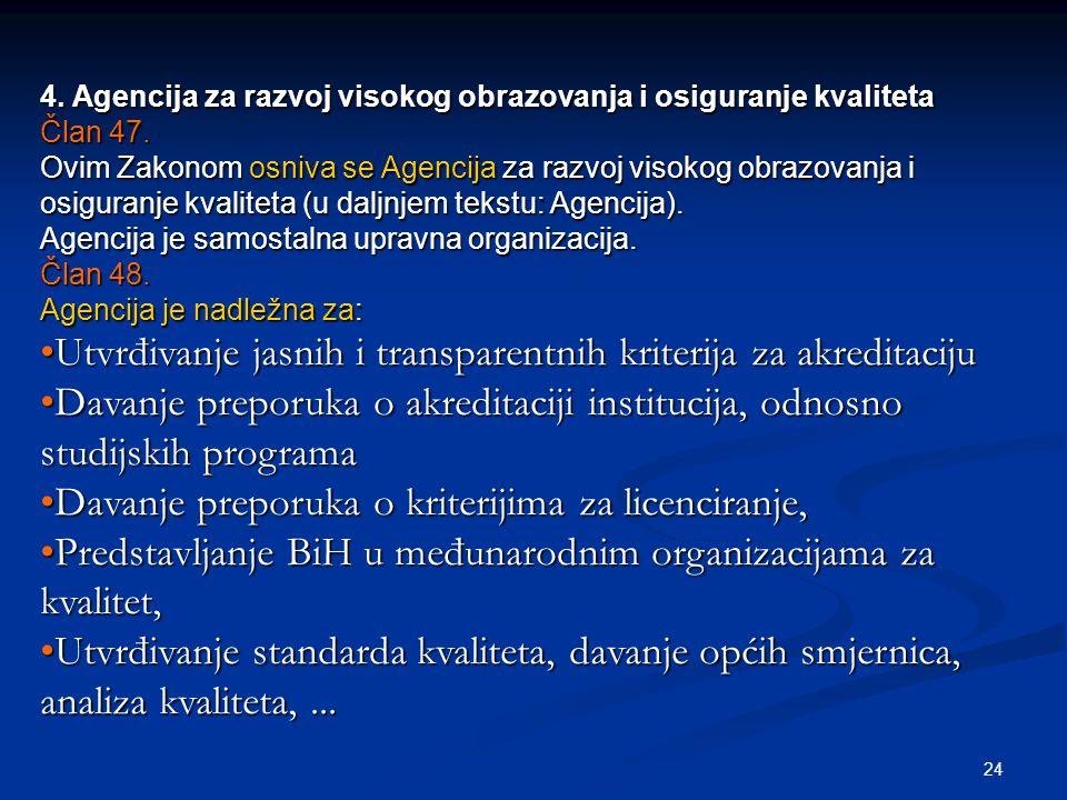 24 4. Agencija za razvoj visokog obrazovanja i osiguranje kvaliteta Član 47. Ovim Zakonom osniva se Agencija za razvoj visokog obrazovanja i osiguranj