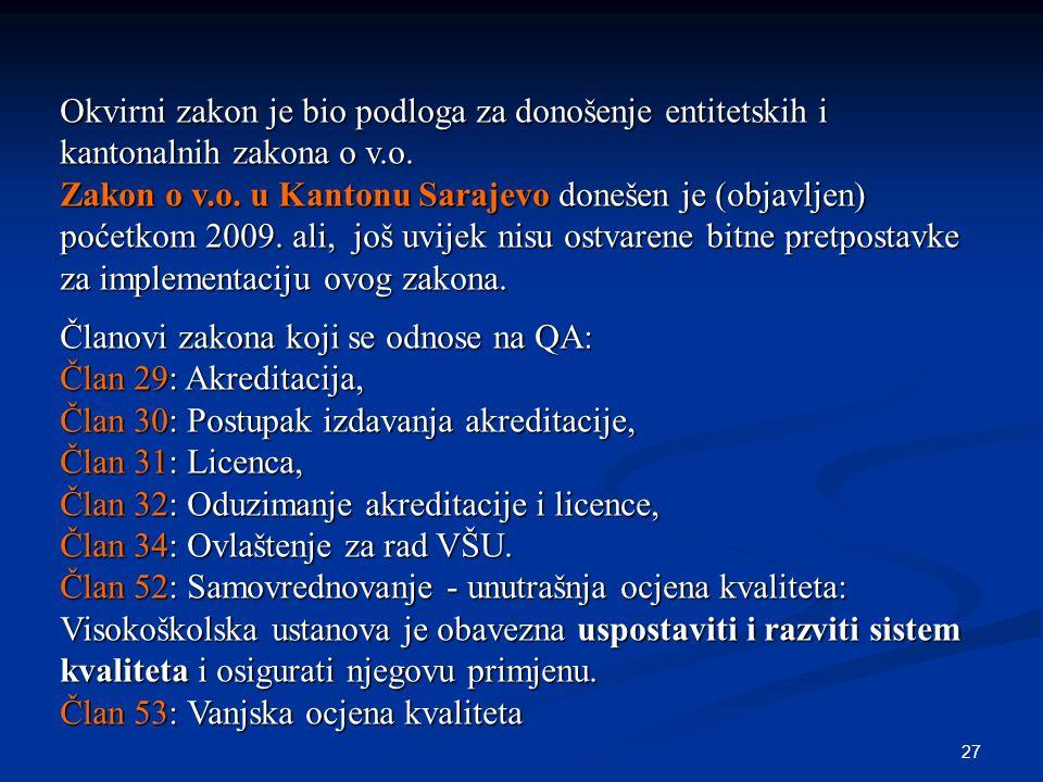 27 Okvirni zakon je bio podloga za donošenje entitetskih i kantonalnih zakona o v.o. Zakon o v.o. u Kantonu Sarajevo donešen je (objavljen) poćetkom 2