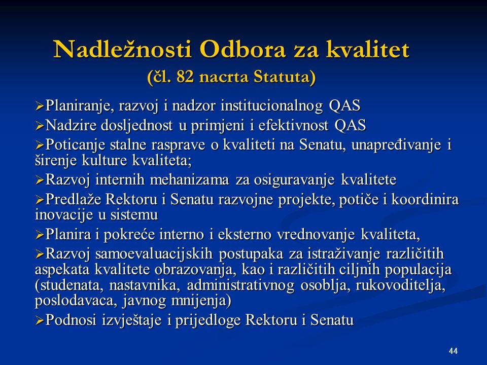 44 Nadležnosti Odbora za kvalitet (čl. 82 nacrta Statuta)  Planiranje, razvoj i nadzor institucionalnog QAS  Nadzire dosljednost u primjeni i efekti