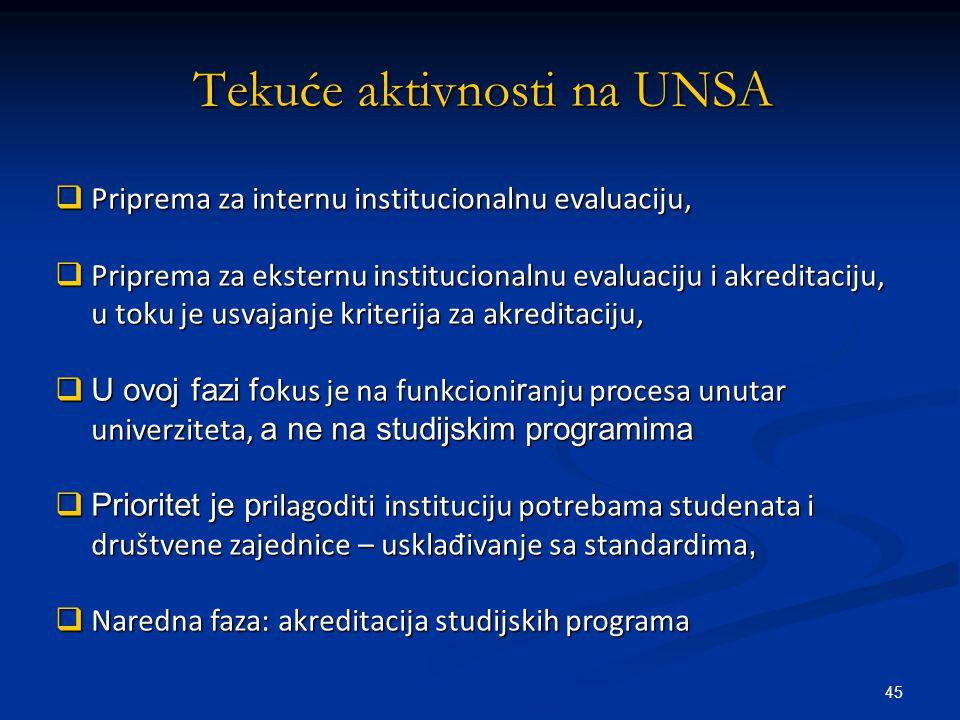 45  Priprema za internu institucionalnu evaluaciju,  Priprema za eksternu institucionalnu evaluaciju i akreditaciju, u toku je usvajanje kriterija za akreditaciju,  U ovoj fazi f okus je na funkcioni r anju procesa unutar univerziteta, a ne na studijskim programima  Prioritet je p rilagoditi instituciju potrebama studenata i društvene zajednice – usklađivanje sa standardima,  Naredna faza: akreditacija studijskih programa Tekuće aktivnosti na UNSA