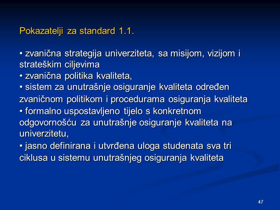 47 Pokazatelji za standard 1.1. zvanična strategija univerziteta, sa misijom, vizijom i strateškim ciljevima zvanična strategija univerziteta, sa misi