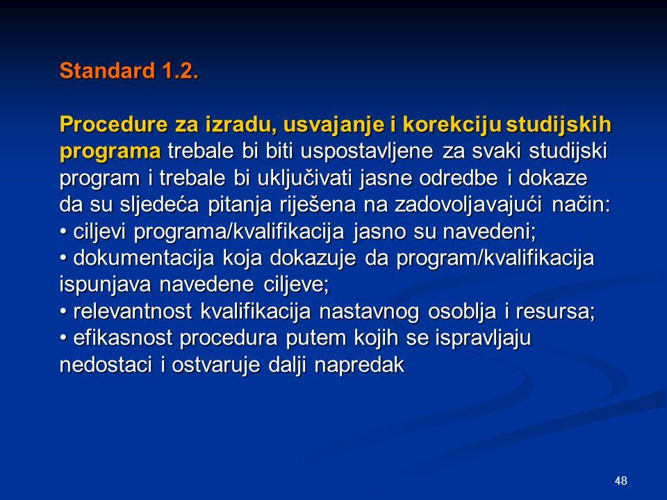 48 Standard 1.2. Procedure za izradu, usvajanje i korekciju studijskih programa trebale bi biti uspostavljene za svaki studijski program i trebale bi