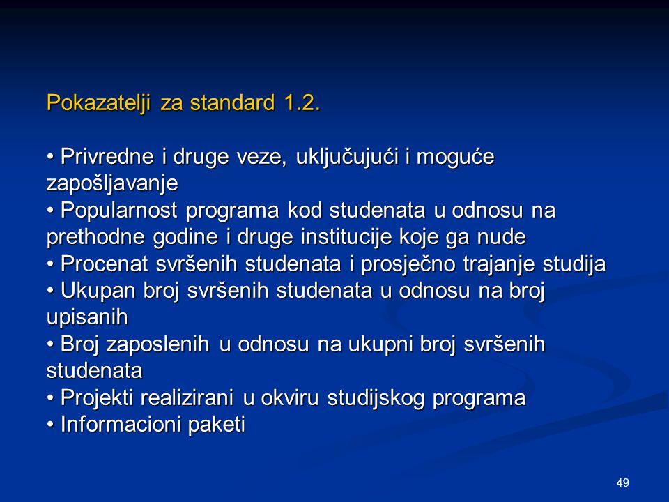 49 Pokazatelji za standard 1.2. Privredne i druge veze, uključujući i moguće zapošljavanje Privredne i druge veze, uključujući i moguće zapošljavanje