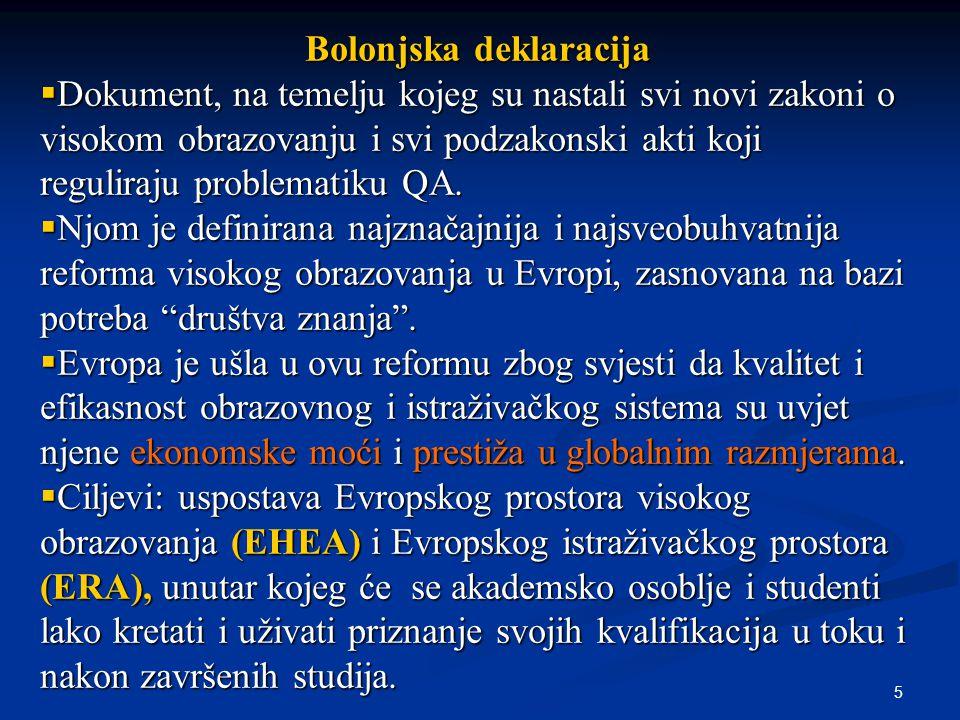 5 Bolonjska deklaracija  Dokument, na temelju kojeg su nastali svi novi zakoni o visokom obrazovanju i svi podzakonski akti koji reguliraju problematiku QA.