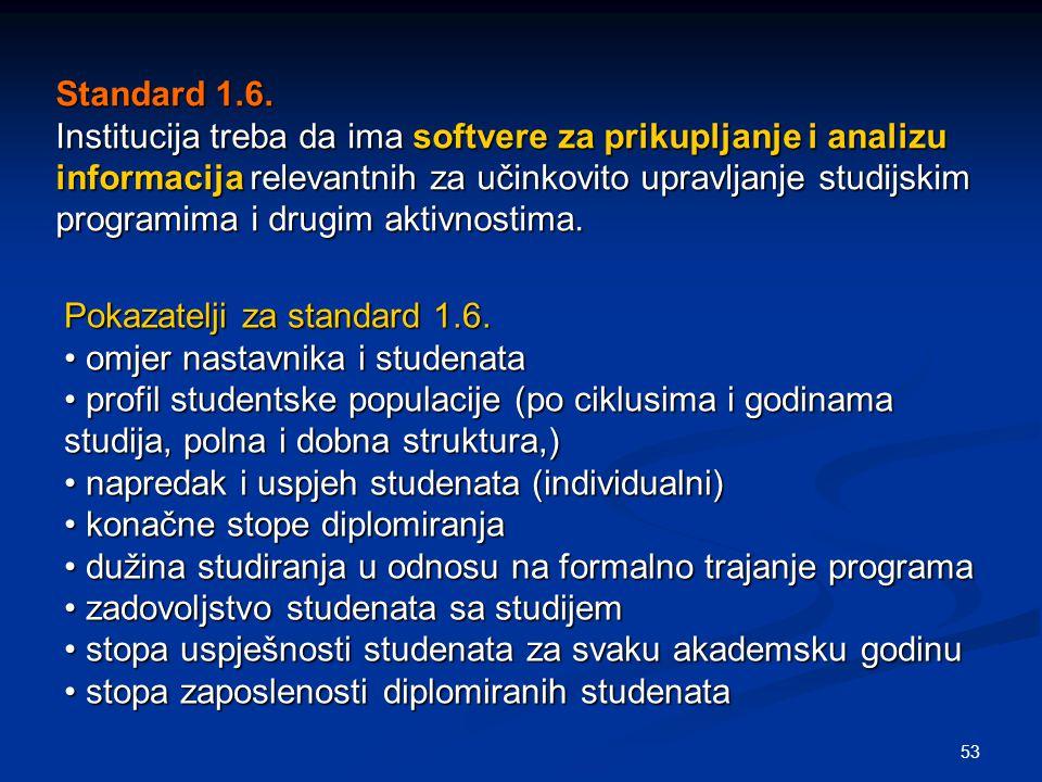 53 Standard 1.6. Institucija treba da ima softvere za prikupljanje i analizu informacija relevantnih za učinkovito upravljanje studijskim programima i