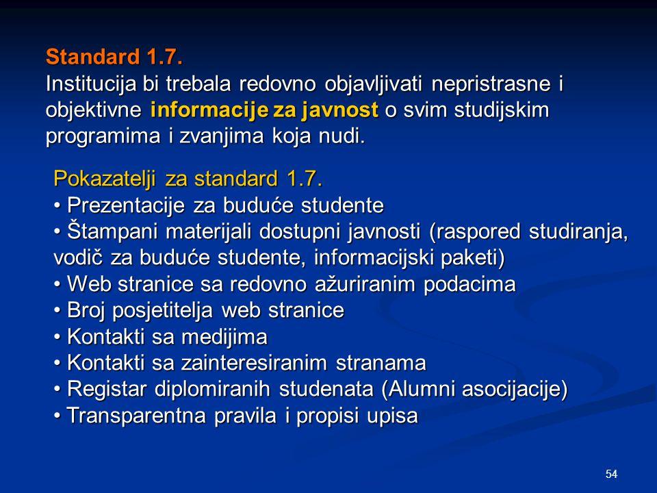 54 Standard 1.7. Institucija bi trebala redovno objavljivati nepristrasne i objektivne informacije za javnost o svim studijskim programima i zvanjima