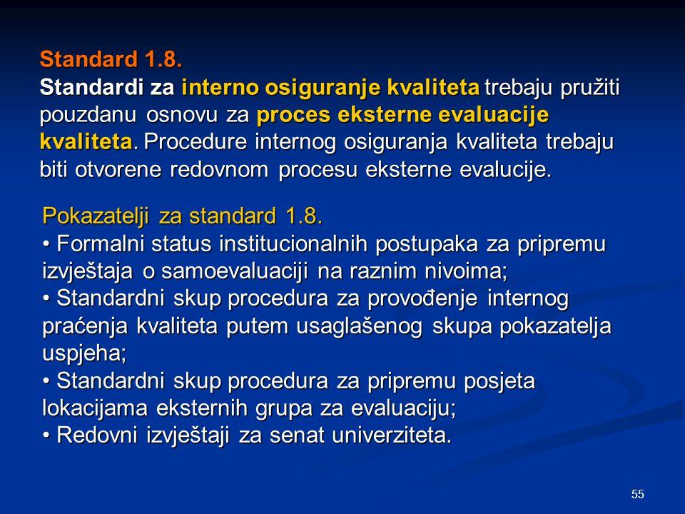 55 Standard 1.8. Standardi za interno osiguranje kvaliteta trebaju pružiti pouzdanu osnovu za proces eksterne evaluacije kvaliteta. Procedure internog