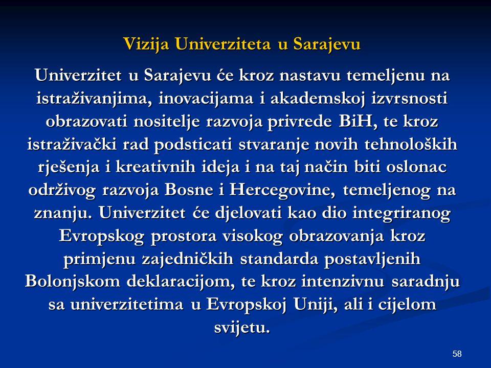 58 Vizija Univerziteta u Sarajevu Univerzitet u Sarajevu će kroz nastavu temeljenu na istraživanjima, inovacijama i akademskoj izvrsnosti obrazovati nositelje razvoja privrede BiH, te kroz istraživački rad podsticati stvaranje novih tehnoloških rješenja i kreativnih ideja i na taj način biti oslonac održivog razvoja Bosne i Hercegovine, temeljenog na znanju.