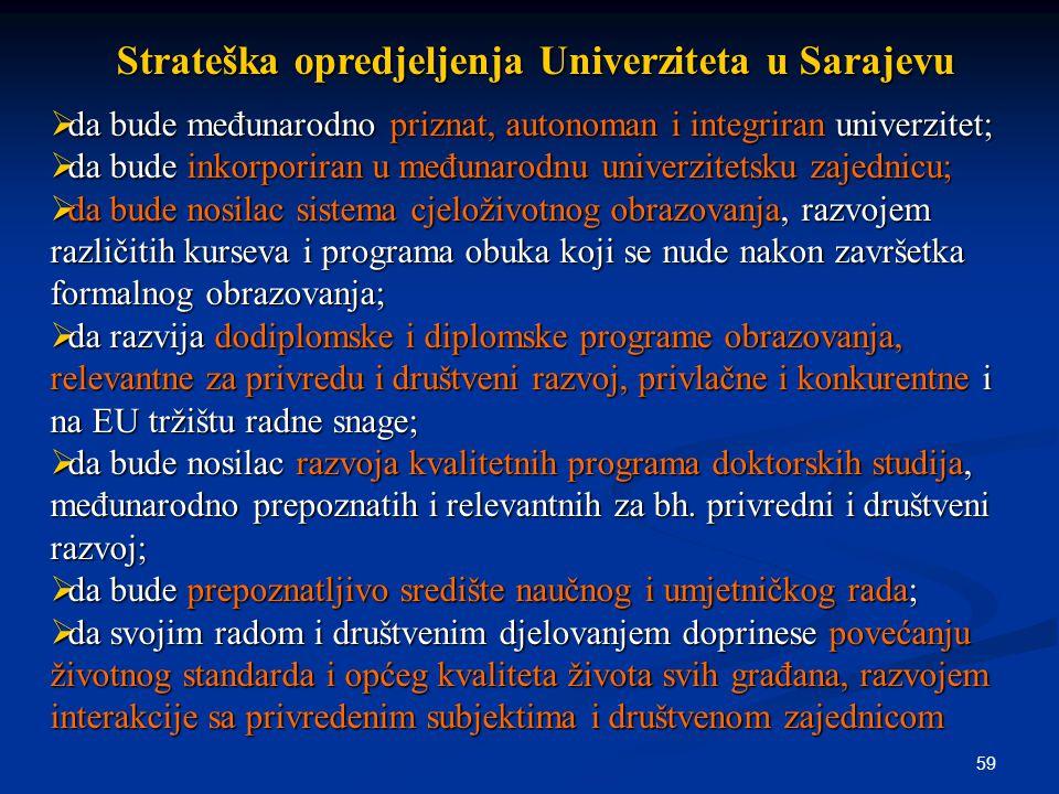 59 Strateška opredjeljenja Univerziteta u Sarajevu  da bude međunarodno priznat, autonoman i integriran univerzitet;  da bude inkorporiran u međunarodnu univerzitetsku zajednicu;  da bude nosilac sistema cjeloživotnog obrazovanja, razvojem različitih kurseva i programa obuka koji se nude nakon završetka formalnog obrazovanja;  da razvija dodiplomske i diplomske programe obrazovanja, relevantne za privredu i društveni razvoj, privlačne i konkurentne i na EU tržištu radne snage;  da bude nosilac razvoja kvalitetnih programa doktorskih studija, međunarodno prepoznatih i relevantnih za bh.