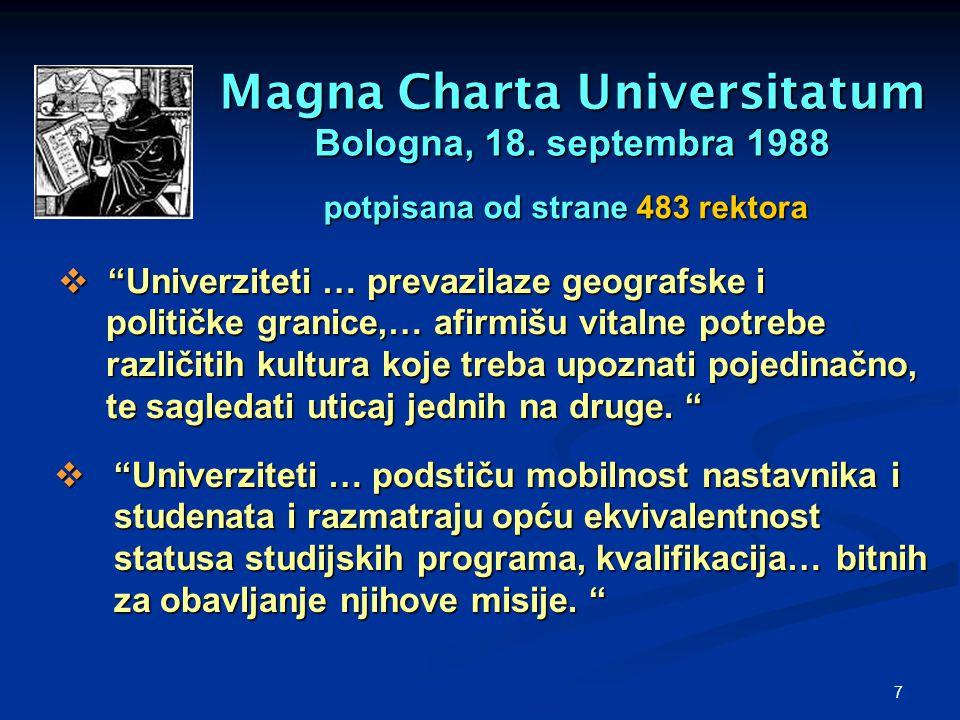 "7 Magna Charta Universitatum Bologna, 18. septembra 1988  ""Univerziteti … podstiču mobilnost nastavnika i studenata i razmatraju opću ekvivalentnost"