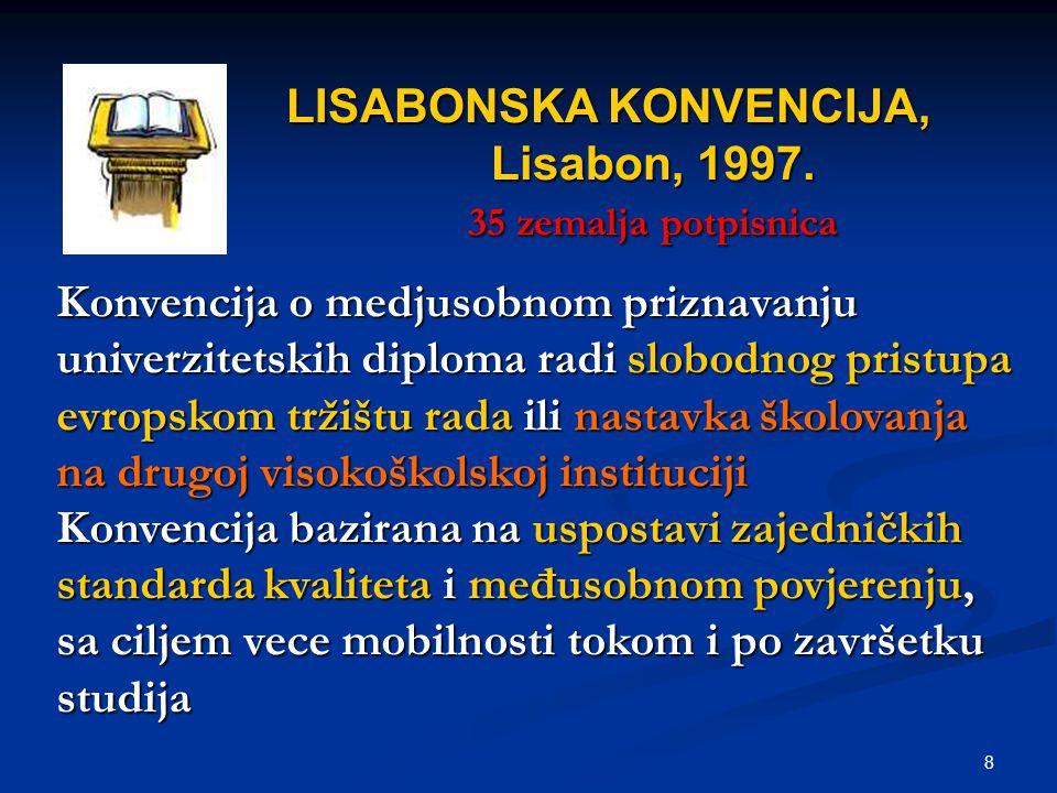 8 LISABONSKA KONVENCIJA, Lisabon, 1997. 35 zemalja potpisnica Konvencija o medjusobnom priznavanju univerzitetskih diploma radi slobodnog pristupa evr