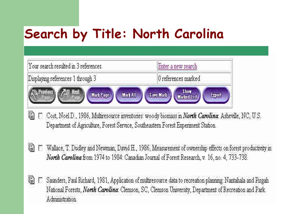 Regional User Group Meeting 9/25/02 Search by Title: North Carolina
