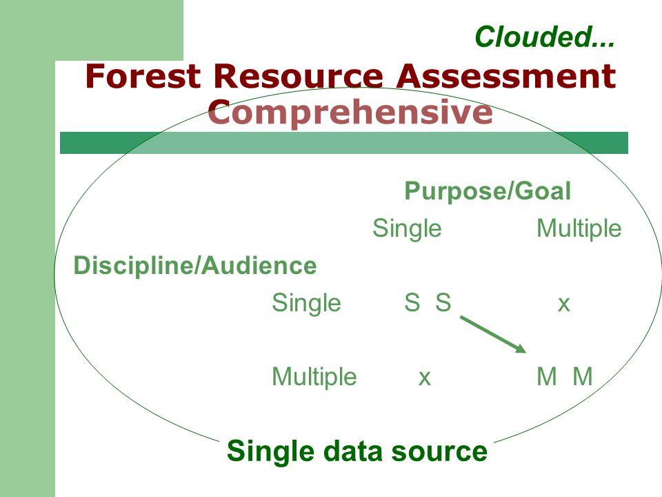 Regional User Group Meeting 9/25/02 Forest Resource Assessment Comprehensive Purpose/Goal SingleMultiple Discipline/Audience SingleS S x Multiple xM M Single data source Clouded...